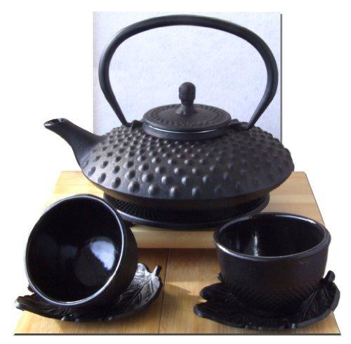 1.Théière en fonte de style asiatique avec filtre en acier inoxydable Noir