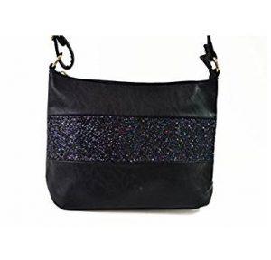 d0ee7dcce2fc2 ... de la couleur noire et pour vous permettre d'adopter un look plus  moderne, la partie centrale de ce sac est orné par un tissu pailleté qui  renforce le ...